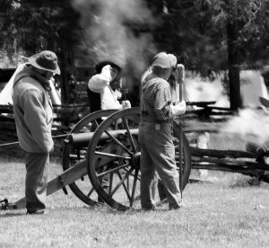Members of the 61st Tennessee Company display their fire power at Haynesville. - Photo courtesy of Monique Carr
