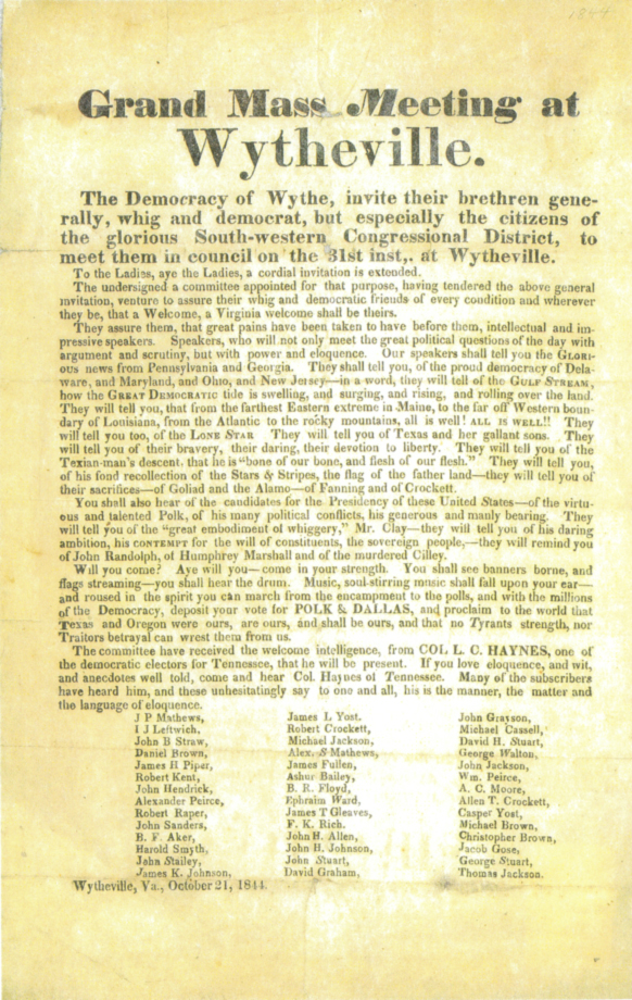 "Figure 5. 1844 broadside of the political meeting in Wytheville, Virginia.  ""Col. L. C. Haynes"" is visible in the last paragraph. Courtesy of The Library of Virginia."