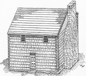 Figure 2. Artist Hugh Pruitt's interpretation of how Colonel Tipton's cabin appeared in 1784.