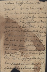 Figure 5. Page 1 of 2 of a letter from Col. Tipton and Col. Maxwell to Col. Arthur Campbell. The letter, dated March 10th, explains the recent conflict between the Tiptonites and Franklinites.