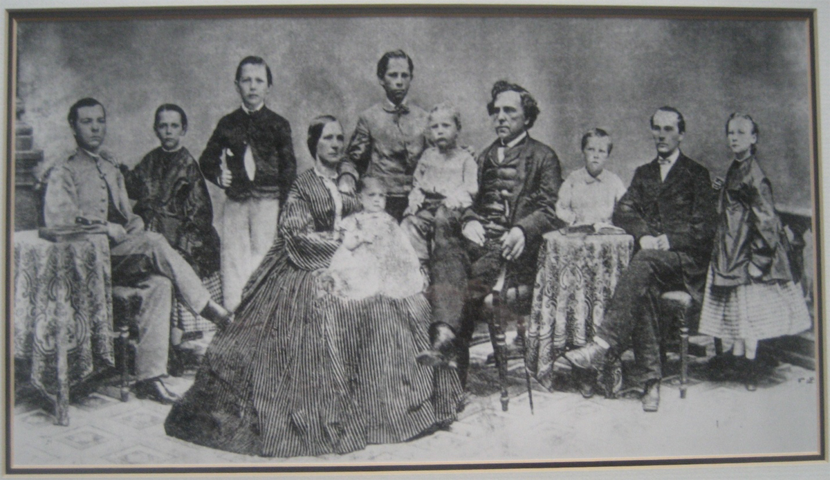 Figure 2. This Taylor family photograph was taken sometime during the Civil War. From left to right: Alfred, Mary Eva, Nathaniel, Emmaline holding Sanna, Robert, Hugh, Nathaniel, David, James, and Rhoda Emma.