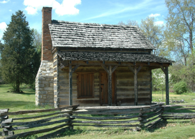Figure 2. A reconstructed cabin of the mid-nineteenth century that once belonged to the Fox and Harwood families. The cabin sits on the site of the possible location of the Haynes slave cabin. Courtesy of Natural Concepts.