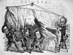 Figure 1. An 1860 political cartoon shows the four presidential candidates of (left to right) Abraham Lincoln, Stephen Douglas, John C. Breckenridge, and John Bell dividing the United States map. Courtesy of Natural Concepts.