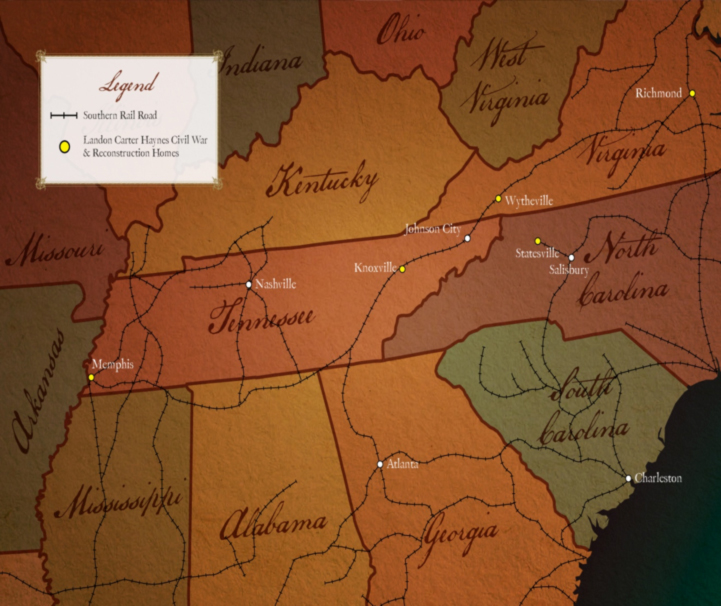 Figure 8. This map shows the different places and railroad systems upon which  Confederate Senator Haynes traveled during and after the Civil War. Courtesy of Natural Concepts.