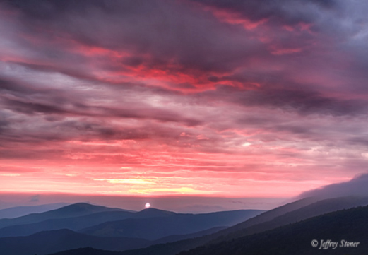 Figure 10. Commencement Ceremony. A sunrise in the Great Smoky Mountains.  Photo by Jeffrey Stoner.