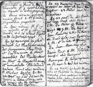 Figure 3. André Michaux's journal entry of March 20, 1796. Colonel Tipton's name is visible in the middle of the left page. Courtesy of the American Philosophical Society.