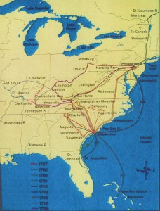 Figure 5. André Michaux Journeys in North America. Created for 10/08/03 for the André Michaux International Symposium Catawba Lands Conservancy. This map shows his journey through East Tennessee and by Colonel Tipton's home.